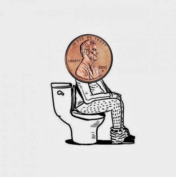 imagens criativas - desenhos - moedas,banheiro,privada