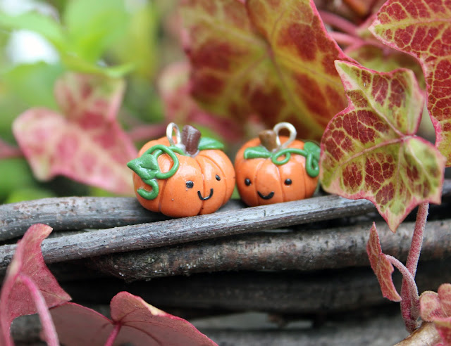Polymer clay pumpkin charms