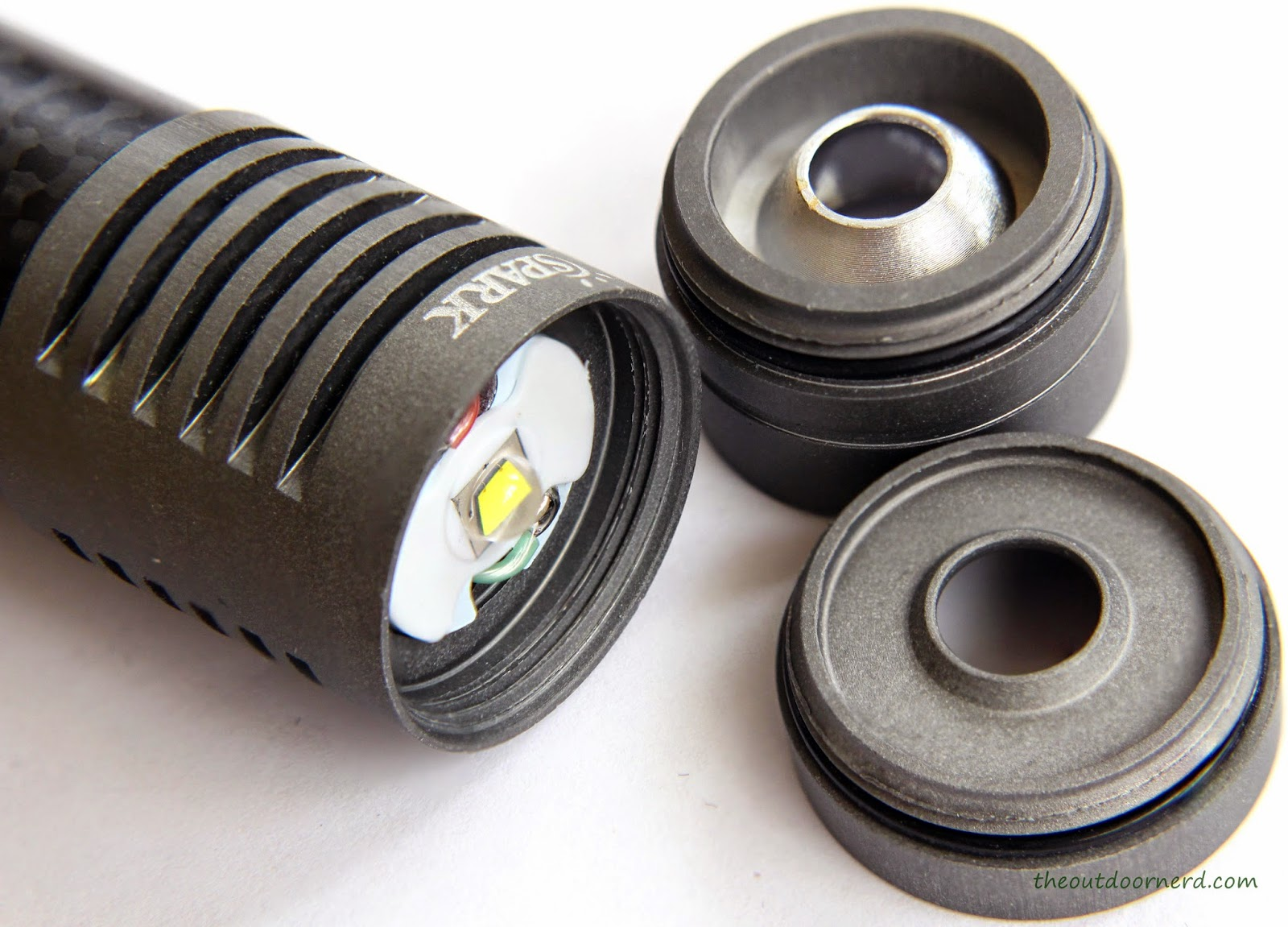 Spark SF3 1xCR123A Flashlight - Shown With Both Reflectors