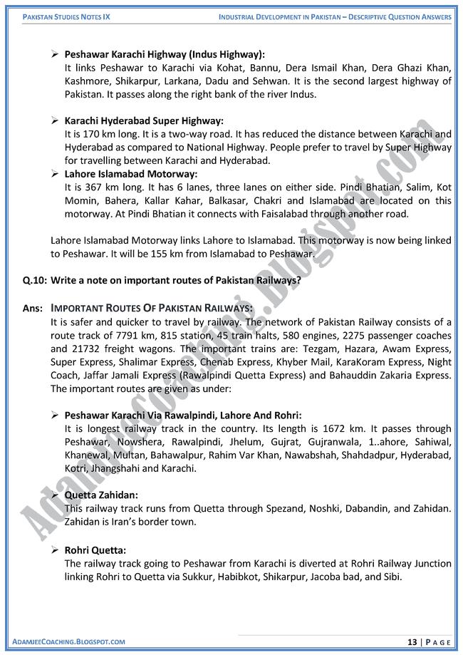 industrial-development-in-pakistan-descriptive-question-answers-pakistan-studies-ix