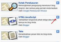 Tambahkan gadget HTML/JavaScript
