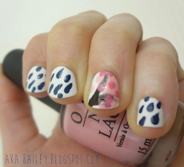 Rainy nail art, cherry blossom tree nail art