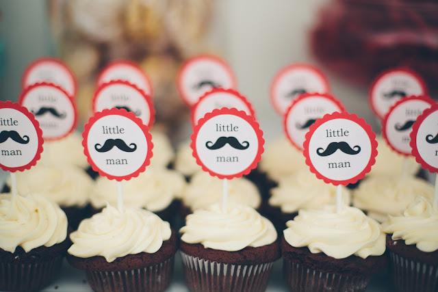 mustache moustache boy baby shower party theme vintage orange red blue