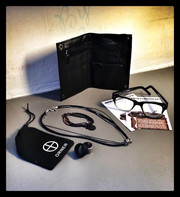 compo matieres à réflexion, bague orner, collier twist orner,bracelet orner et lunettes spitfire