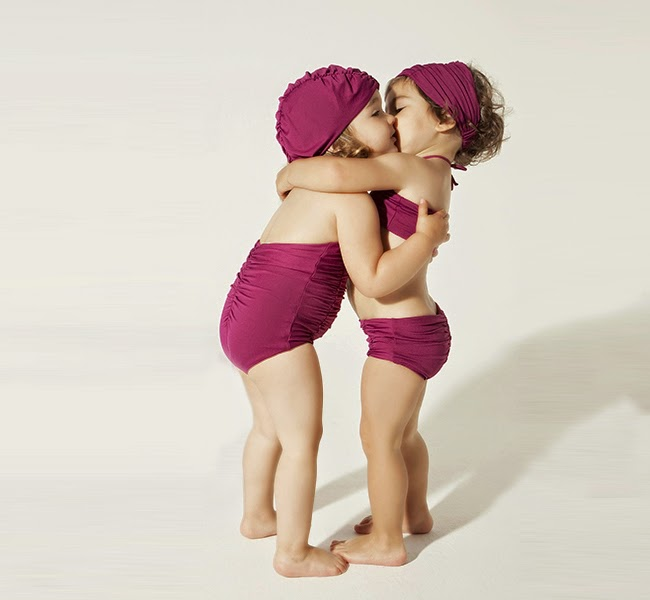 Plum colored swimwear for girls by Little Creative Factory for spring 2014 collection