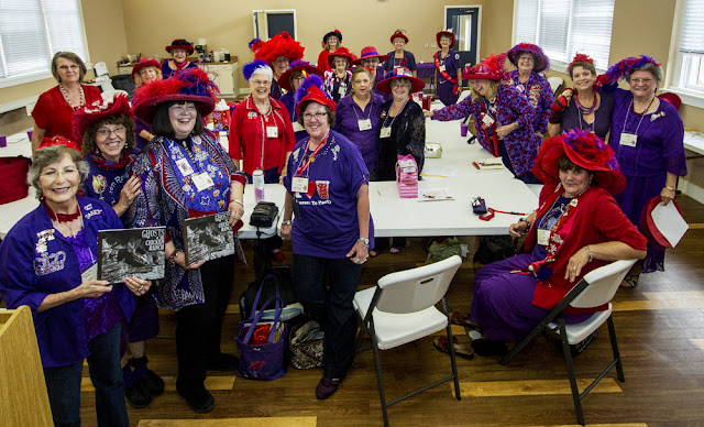 Ghosts of the Chicken Ranch lecture, Scarlett Hens chapter, Red Hat Society, La Grange, TX, Sept. 20, 2014