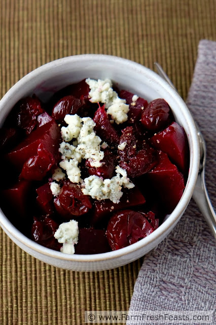 A recipe for an appetizer made with roasted beets, apple cider-soaked dried cherries, creamy blue cheese and crunchy pecans. This beet appetizer is hearty enough to stave off hunger and intriguing enough to satisfy curious appetites.