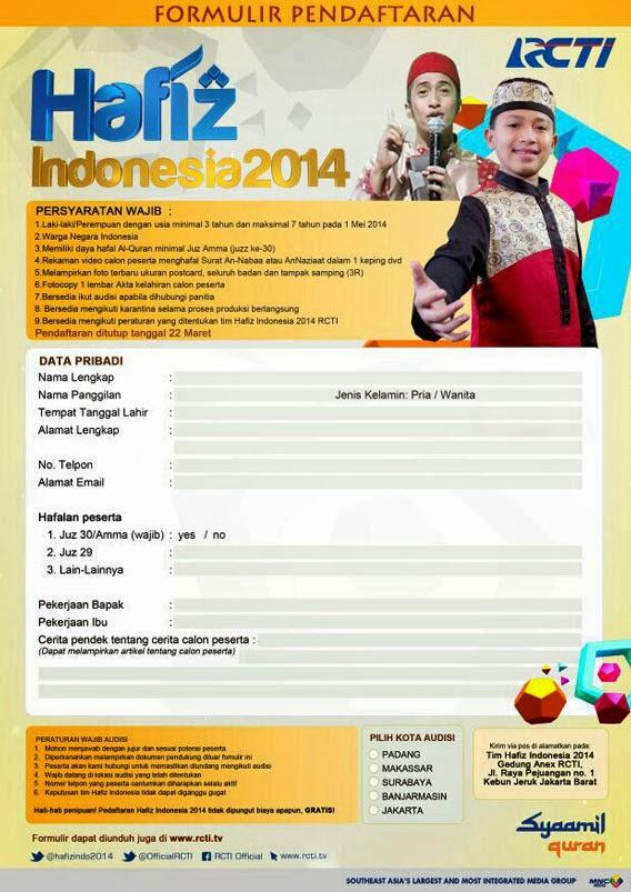 Formulir Hafidz Cilik RCTI 2014