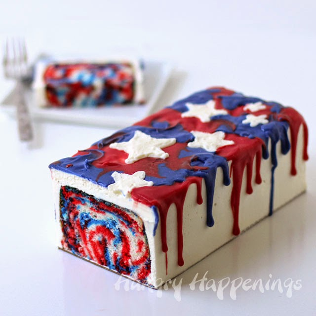 4th of July Dessert - Red, White and Blue Tie-Dye Cake | HungryHappenings.com