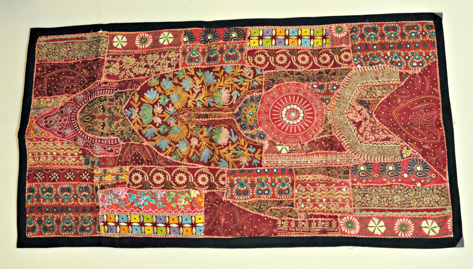 Indian Vintage Handmade Patchwork Tapestry Wall Hanging   Embroidered Table  Runner Indian Folk Art Antique Kantha Textile Banjara Mirror