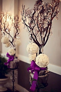 Wedding Decorations, Purples Centerpieces and Flower Arrangements