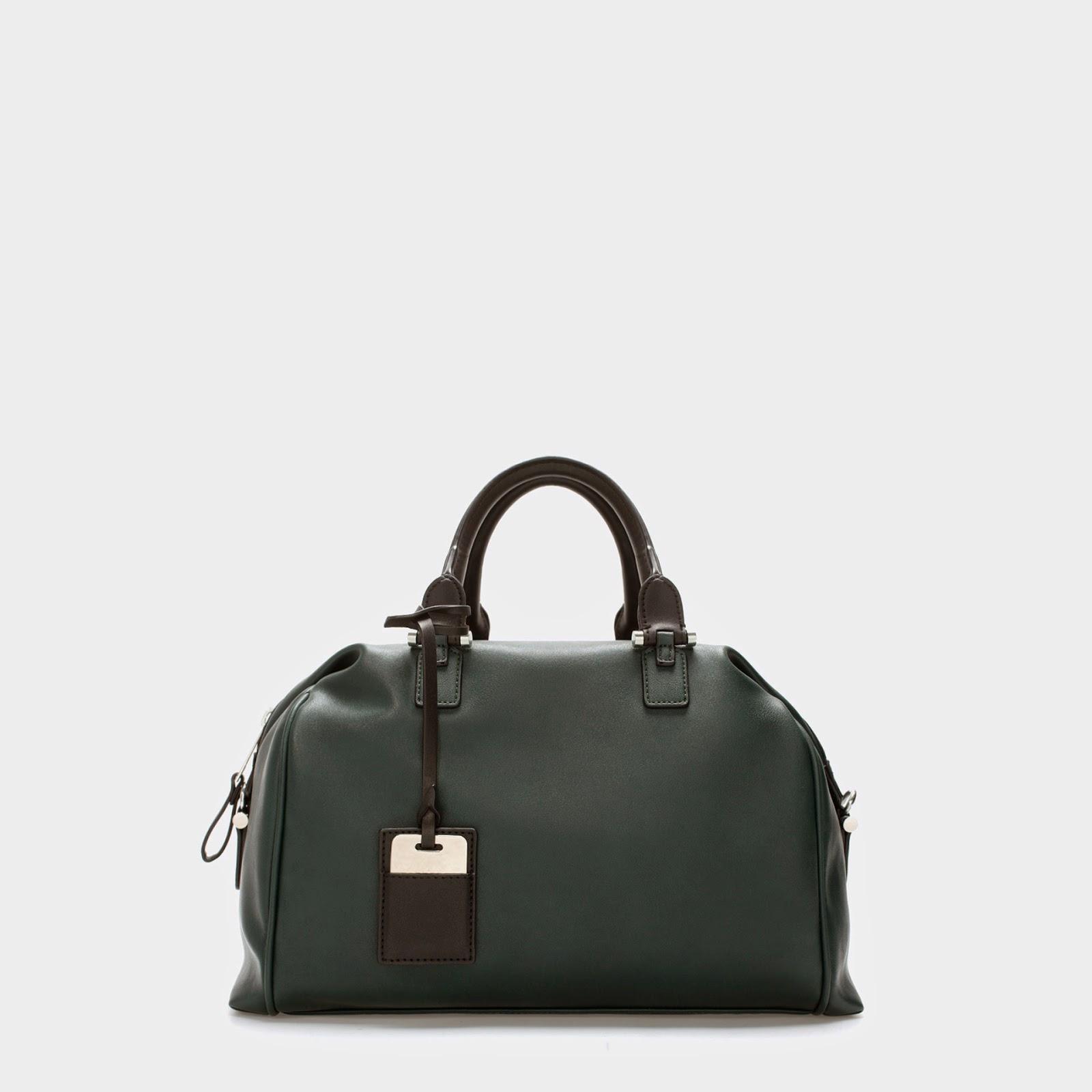 dark green zara handbag