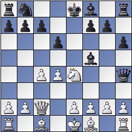 Partida de ajedrez Marín-Golmayo después de 8…Dh4, Barcelona 1926