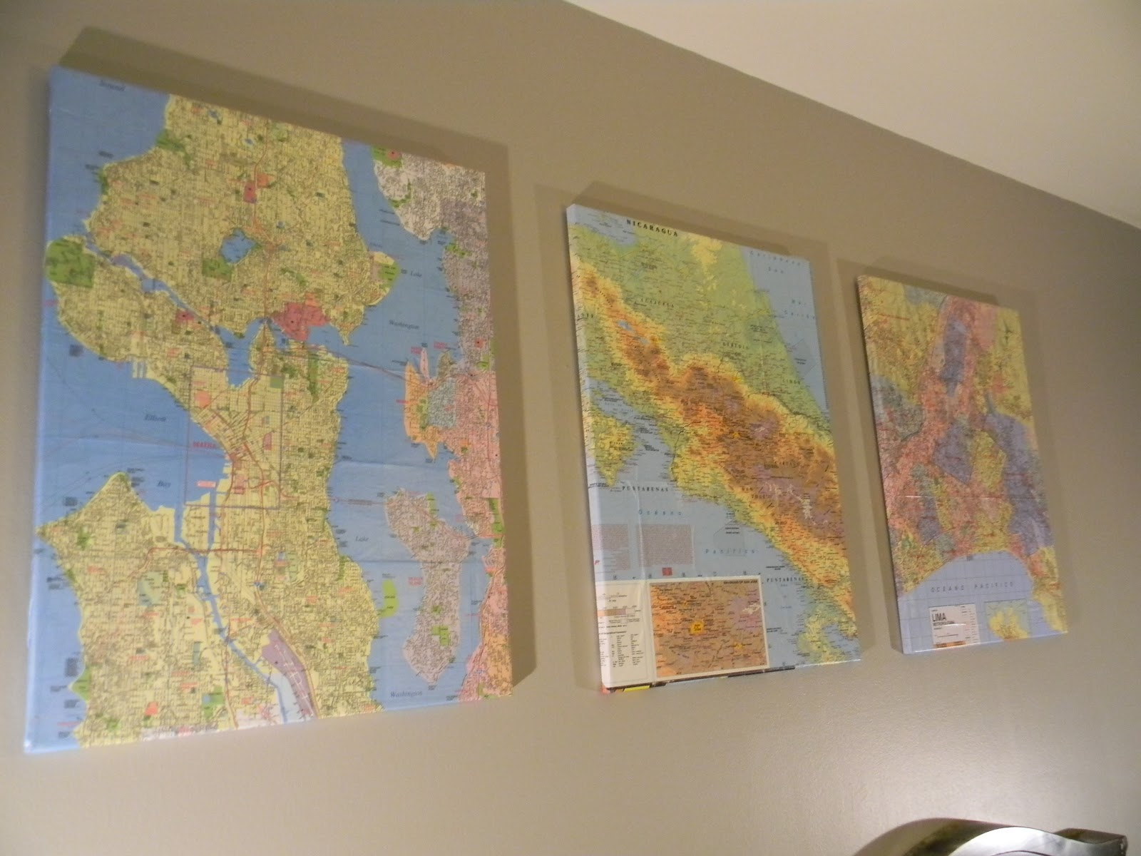 Wall art archives make something daily i bought stretched canvases from a craft store and used mod podge to attach the maps to the canvas surface gumiabroncs Gallery