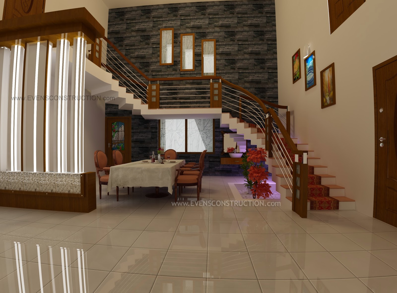 Stair Area And Dining Room Designed For Kerala Home