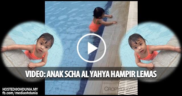 Video: Anak Scha Alyahya & Awal Ashaari bermain air, hampir lemas