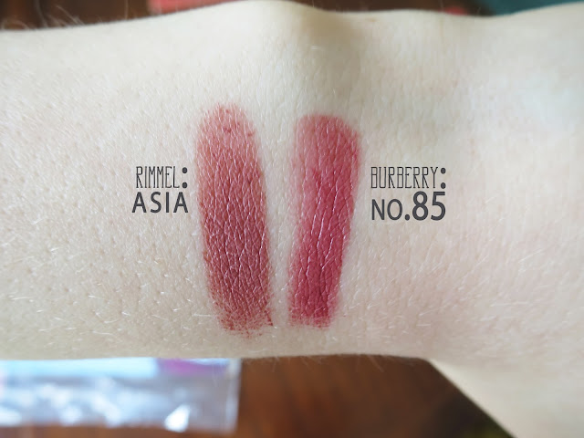 Burberry Kisses no.85 rimmel asia swatches