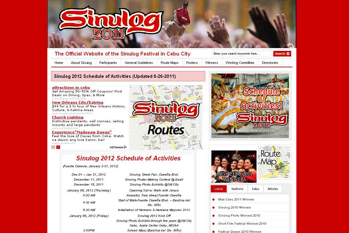 Sinulog 2012 Schedule of Events