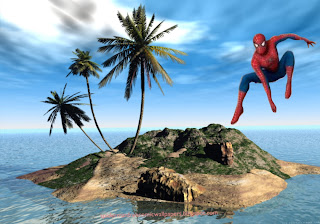 Spiderman Wallpaper Super Hero Flying in 3D Island Desktop wallpaper