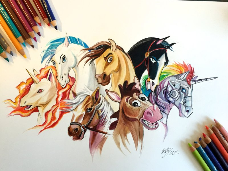 03-Horses-Katy-Lipscomb-Lucky978-Fantasy-Watercolor-Paintings-Colored-Pencils-Drawings-www-designstack-co
