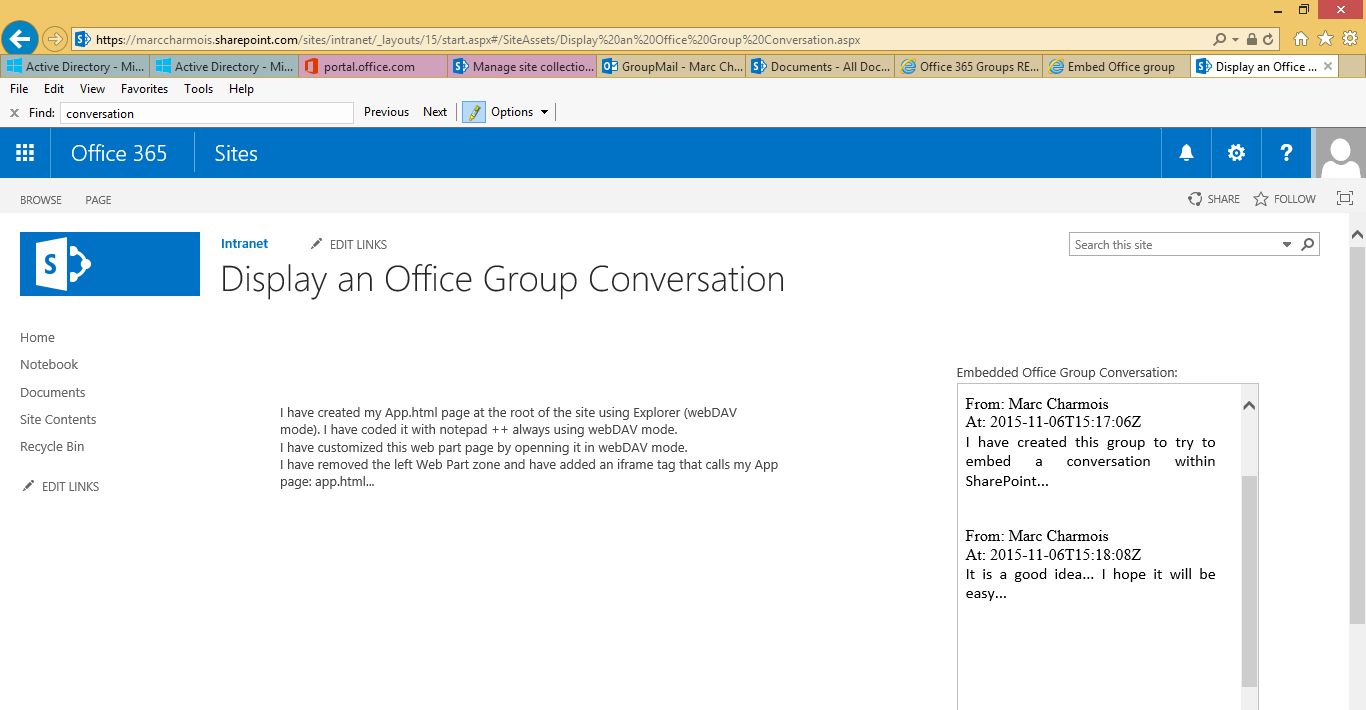 Sharepoint co embed an office group conversation into sharepoint online using a javascript app cors and the office 365 unified api