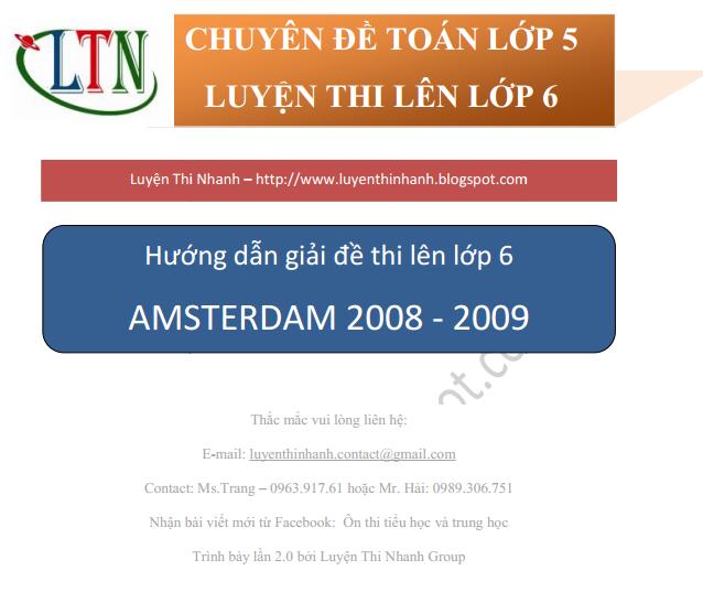Đáp án đề thi môn toán vào lớp 6 trường Amsterdam 2008 - 2009