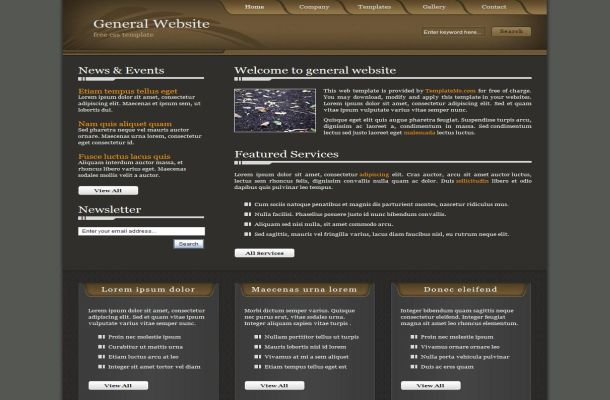 Free Grey Brown Business CSS Website Template