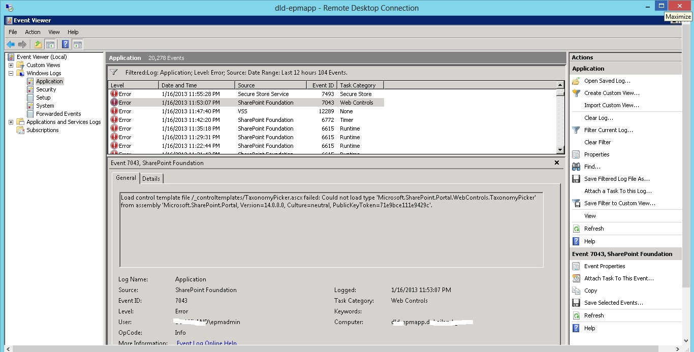 SharePoint2010: Error 7043 Load control template file /_ ...