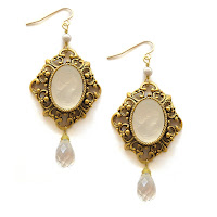 Cameo Statement Gold Earrings, Made in the USA