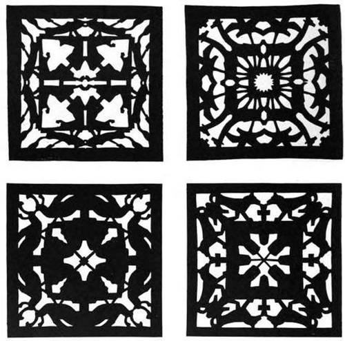 Design by Means of Paper Cutting: four paper cut designs, set 2
