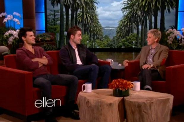 Robert Pattinson e Taylor Lautner em entrevista à Ellen Degeneres (Foto: Reprodução)