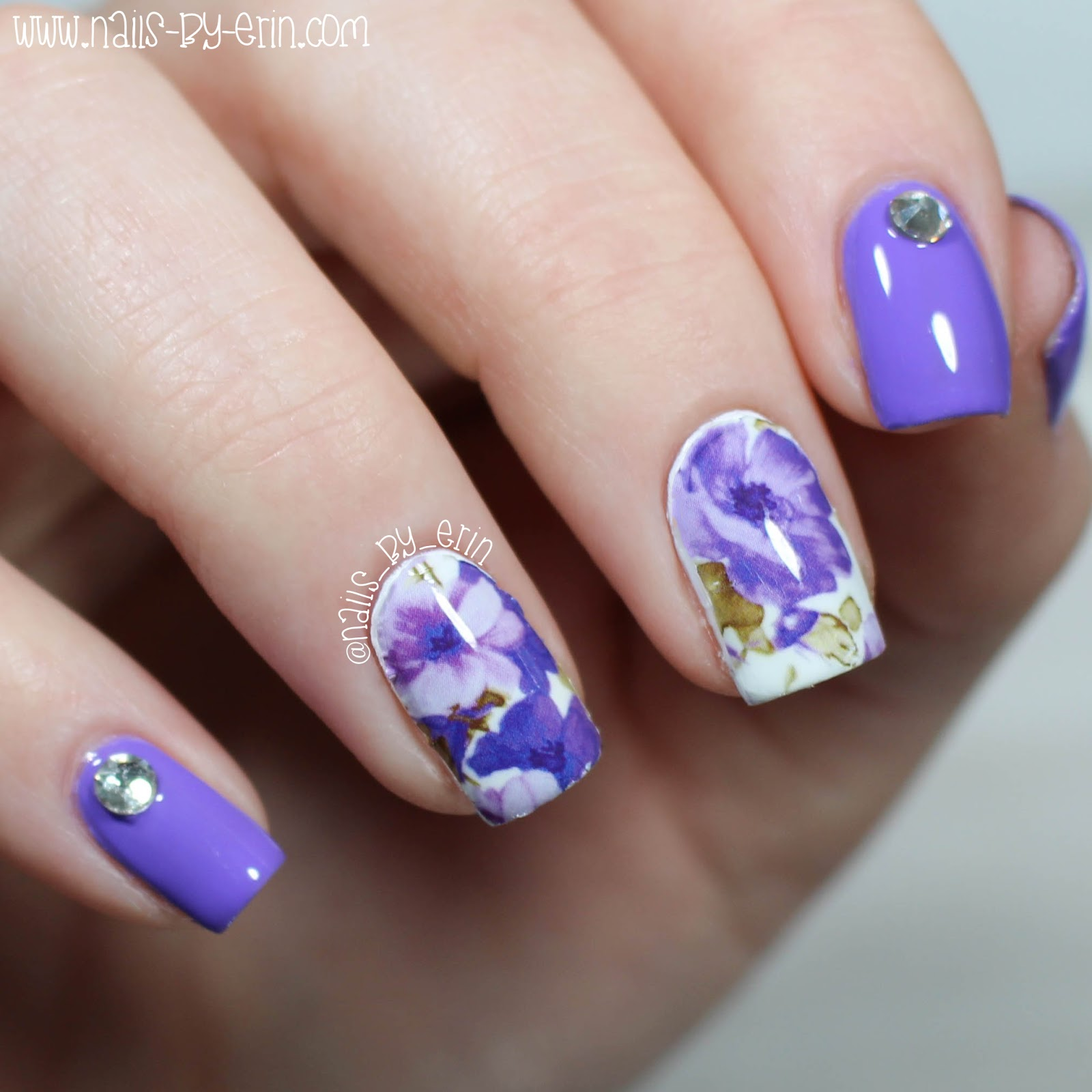 NailsByErin: Purple Floral Water Decal Nails | Born Pretty Store Review