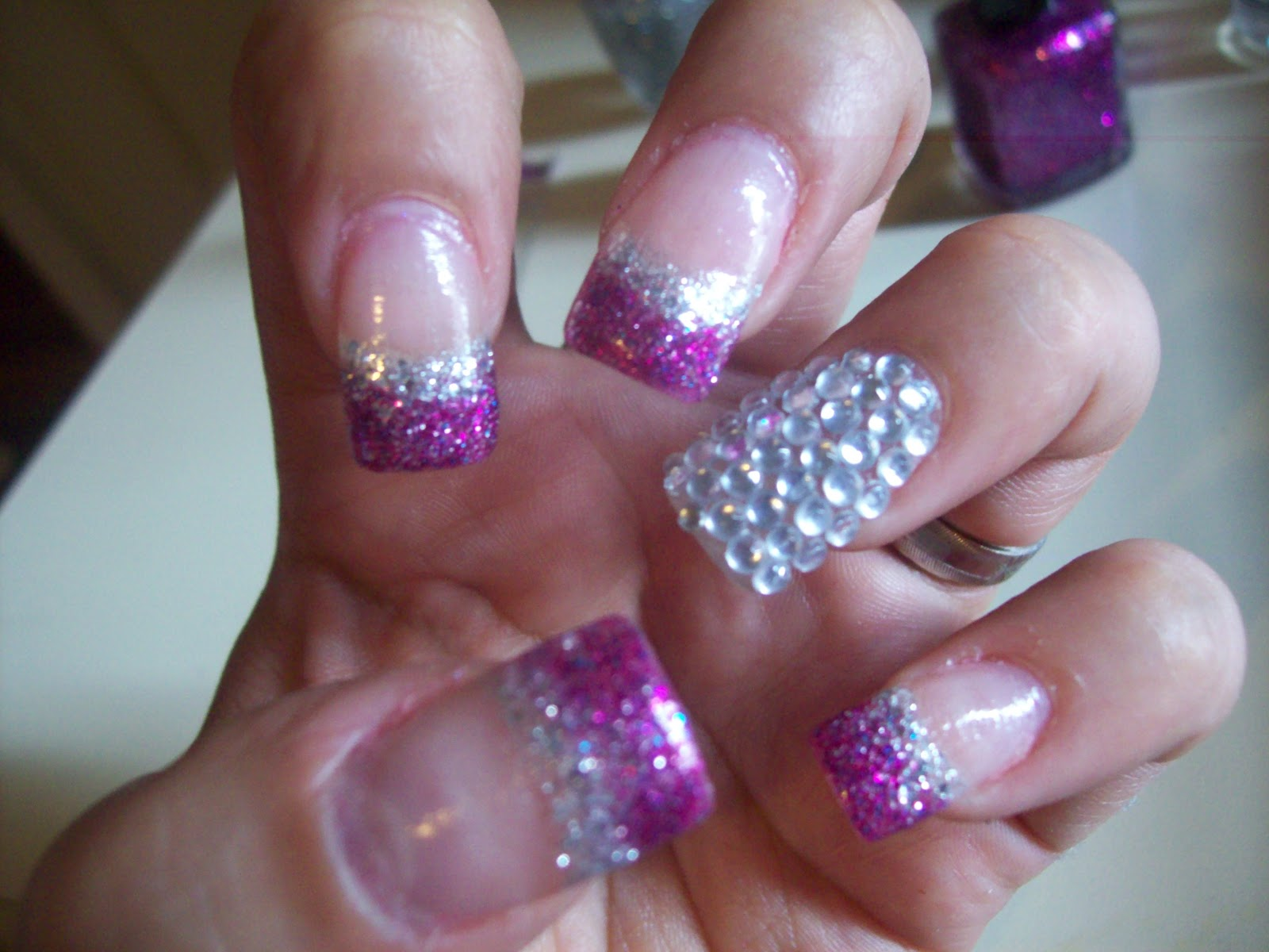 Boybeaterchic Nails: Fuchsia purple and silver glitter nails