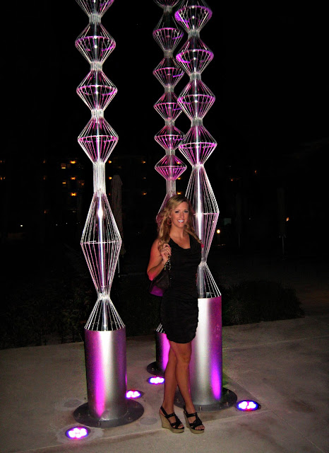 purple sculptures that light up outdoor