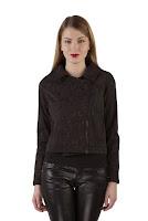Jacheta neagra din brocard A499 (Ama Fashion)