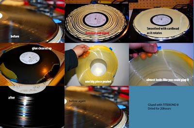 metodo de limpieza de discos de vinilo con cola goma de madera