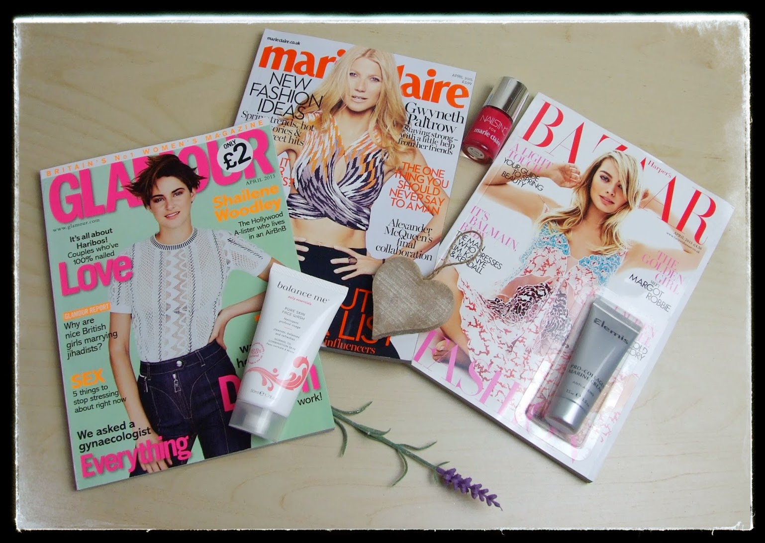 March 2015 magazine freebies Glamour, marie claire, harper's bazaar nails inc elemis marine cream balance me
