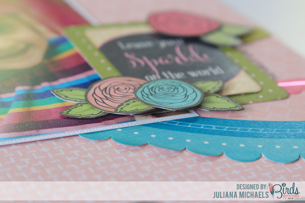 Leave Your Sparkle Scrapbook Page by Juliana Michaels using 3 Birds Design Midday Medley Collection and August Scrapbook Sketch