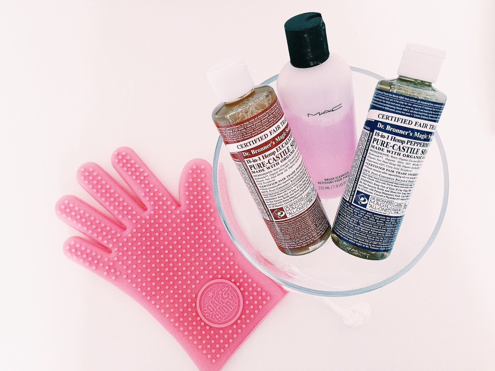how to clean your makeup brushes mac brush cleanser dr bronner's magic soap soap and glory massage glove