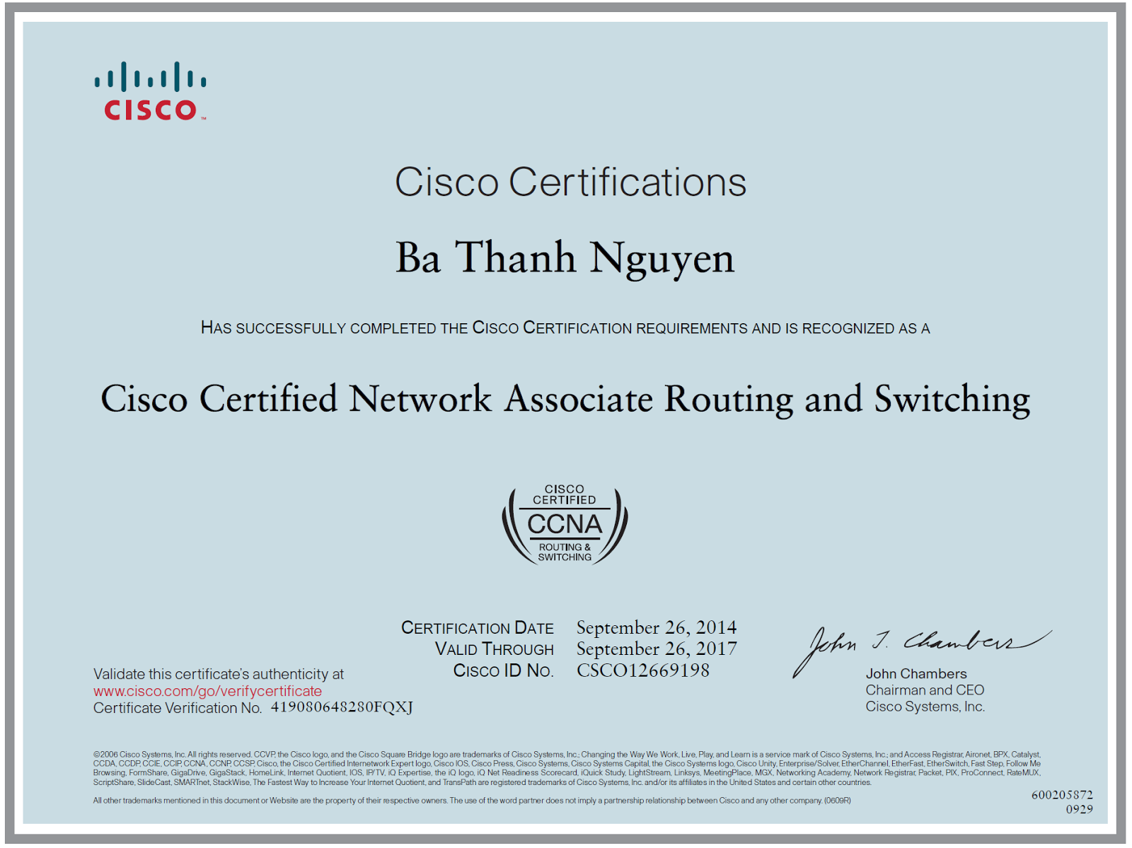 BaThanh's Tai chi: CCNA Certificate