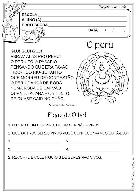 Atividade Animais Música Vinícius de Moraes