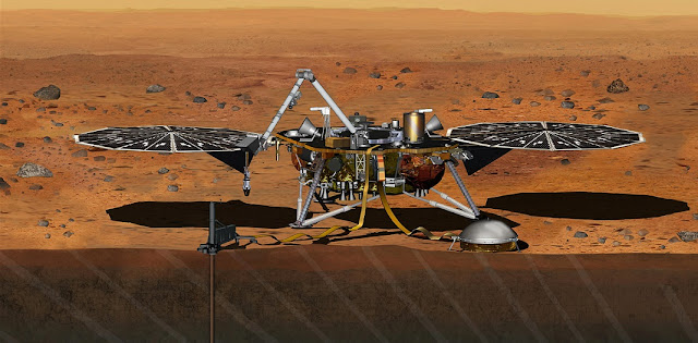 This artist's concept depicts the stationary NASA Mars lander known by the acronym InSight at work studying the interior of Mars. Image Credit: NASA/JPL-Caltech