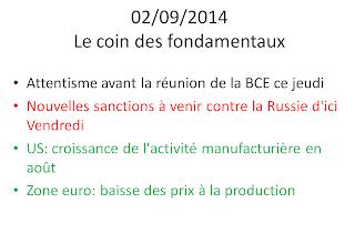 actualités économiques boursières 02/09/2014