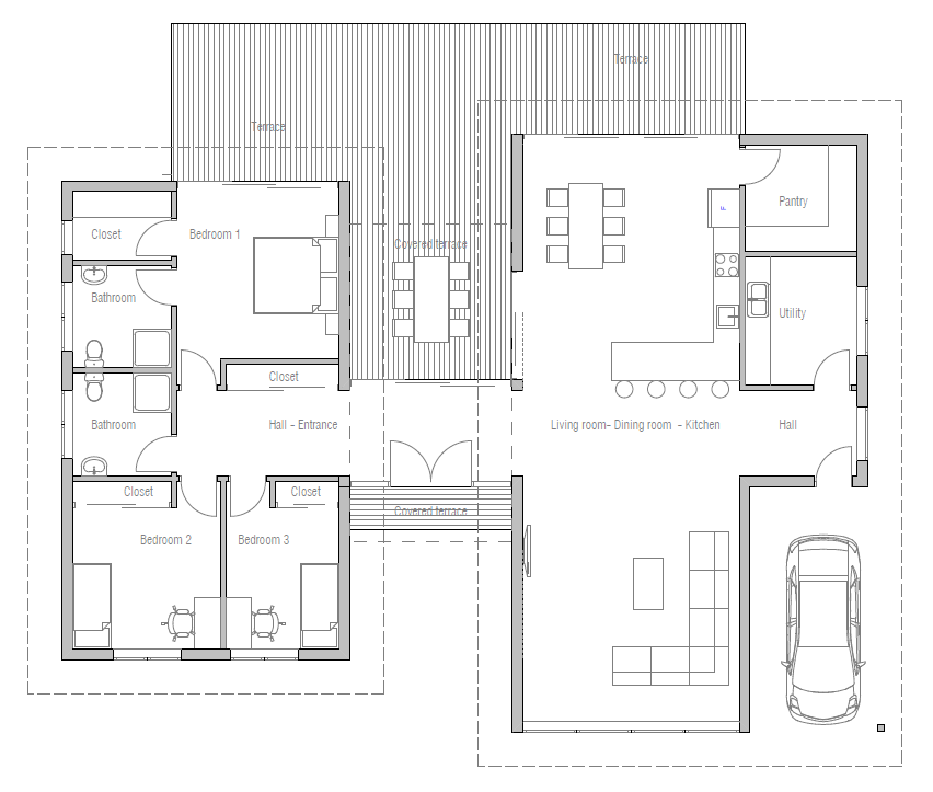 Ch286 modern beach house plan beach house plans for Modern house layout plans