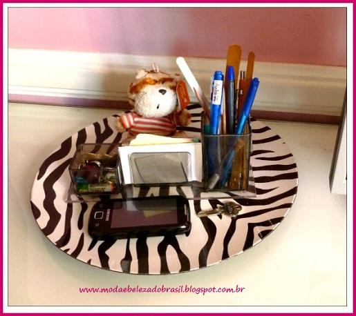 bandeja decorativa de zebra