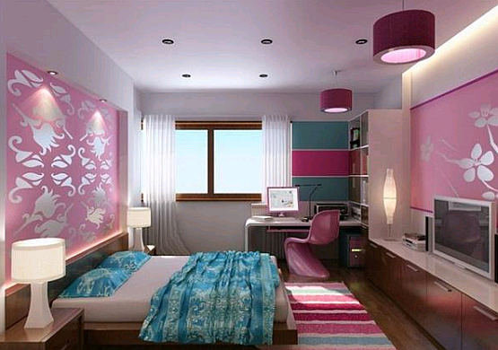 Living room design blue bedroom colors ideas for Pink and blue bedroom