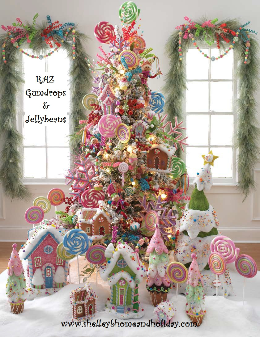 raz 75 foot prelit flocked tree filled with ornaments sprays and garlands from the raz gumdrop and jellybean collection below is a list of items used in