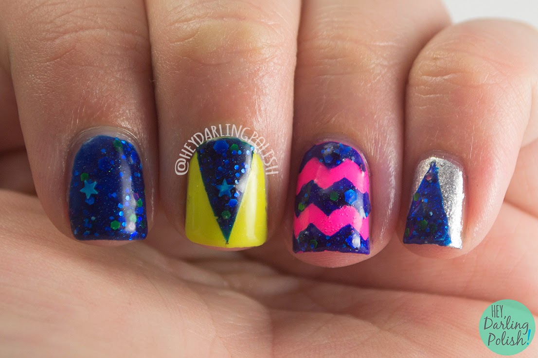 nails, nail art, nail polish, indie, indie polish, pahlish, pink, green, silver, blue, hey darling polish, glitter, triangles, chevrons, theme buffet