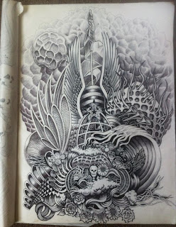 psychedelic ink pen drawing