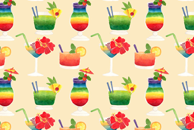 The Cocktails Watercolor Pattern by Haidi Shabrina
